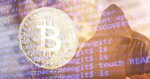Bitcoin image on top of computer code next to hooded figure