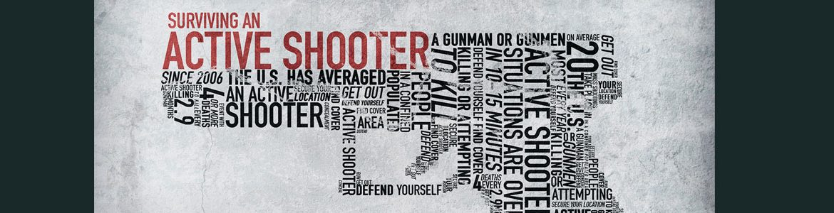 Gun silhouette made of text, Active Shooter