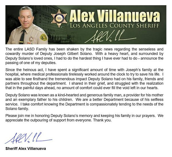 Sheriff's Statement on Dep. Joseph Solano's death
