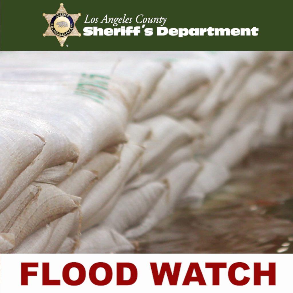 sandbags in flood waters