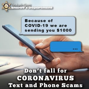 """Person using a mobile phone with a message from an unkown sender reading, """"Because of Covid-19 we are sending you $1000"""""""