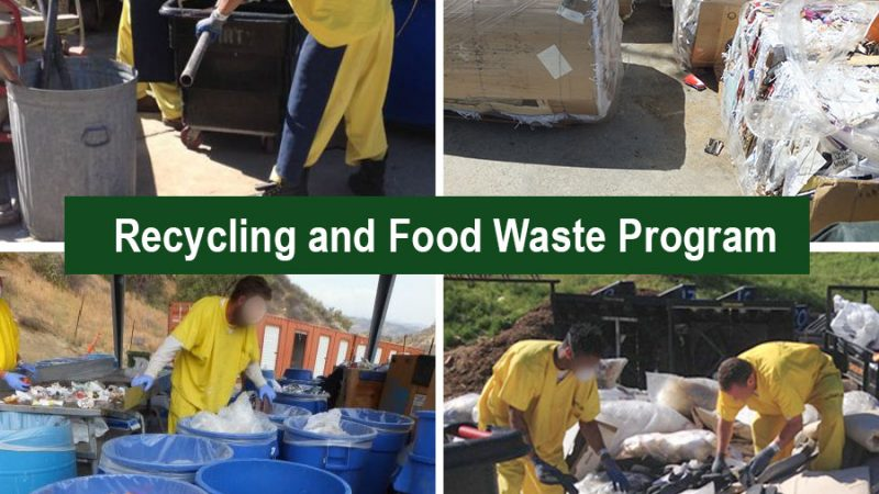 Inmates recycling and waste program. Inmates working sorting steel and recyclables into bins.
