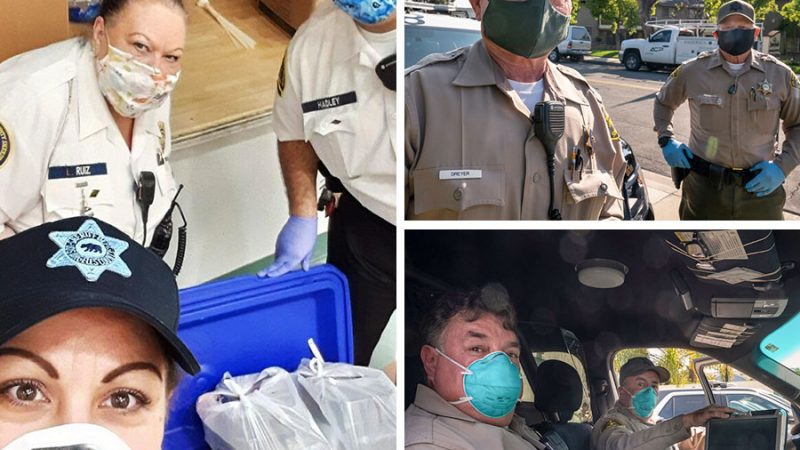 images of volunteers gathering food at a food bank, Secondary image of volunteers on patrol in the communities they serve.