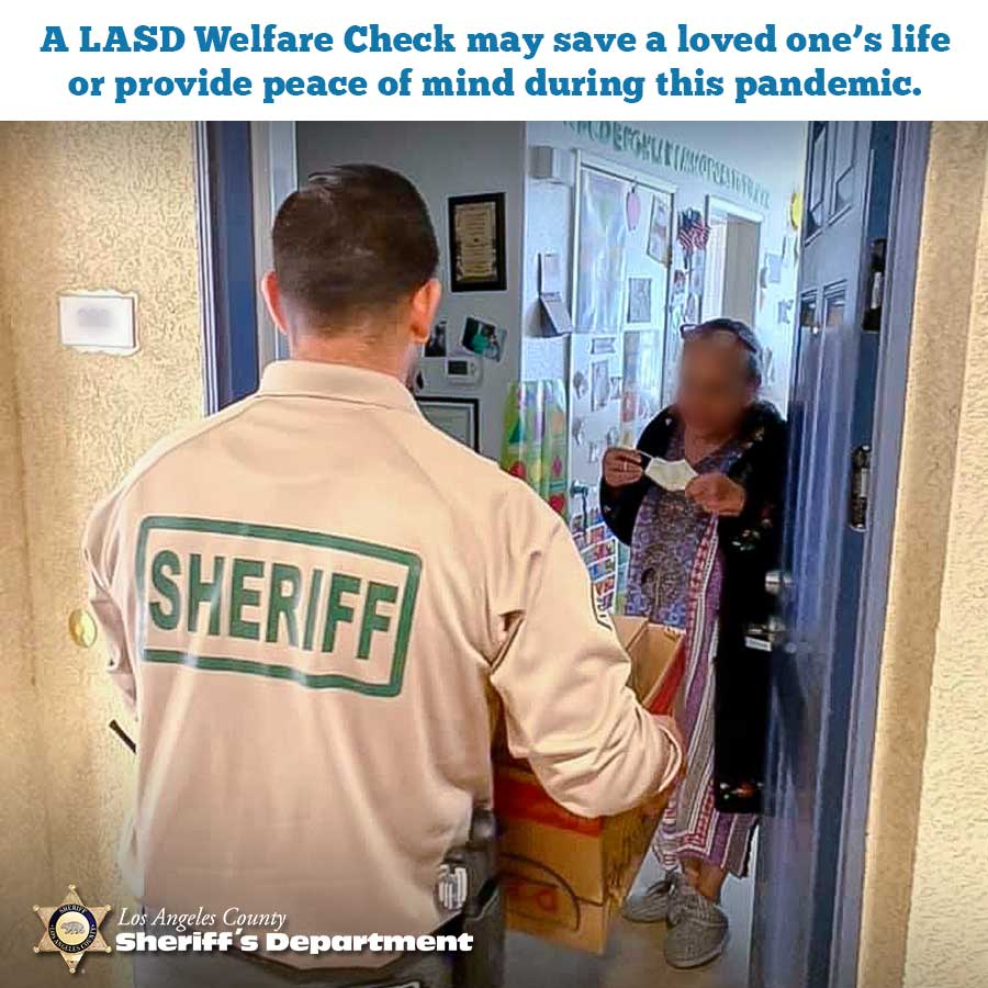 Deputy at a residence performing a welfare check on an elderly person.
