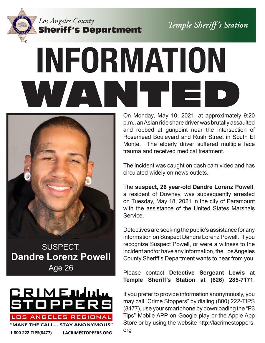 head shot of suspect in this case, Dandre Lorenz Powell: male, very short hair, White hear plug earings, tatoo over right eye, tatoos on neck.suspect is wearing black hooded sweatshirt.